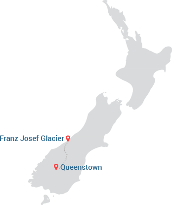 Franz Josef Glacier to Queenstown Map
